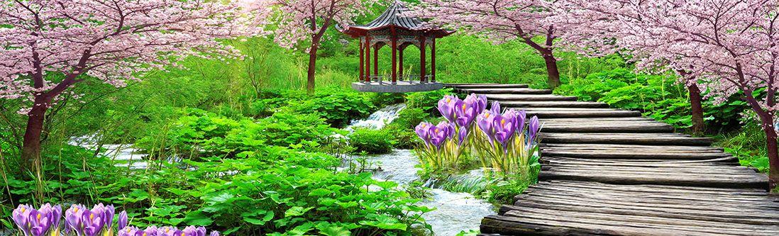 Модульная картина «Мостик в японском саду»