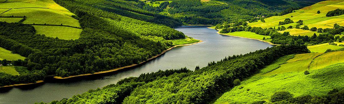 Модульная картина «Спокойная река в зеленой долине»