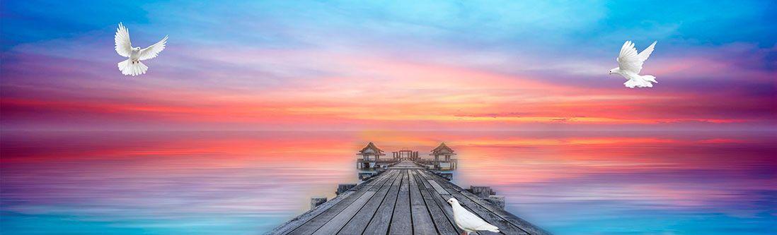 Модульная картина «Причал с голубями»