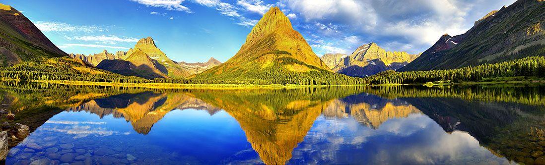 Модульная картина «Озеро в сосновой долине»