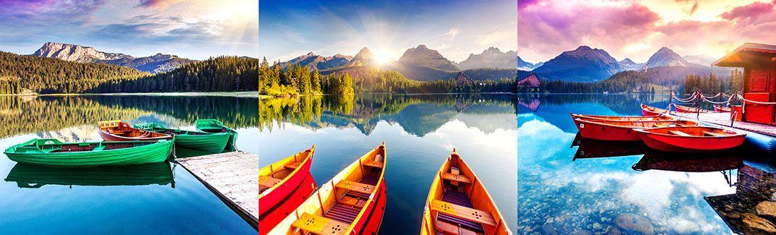 Модульная картина «Лодочки на солнечном озере»