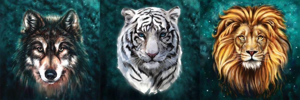 Модульная картина «Крупный план тигра, льва и волка»
