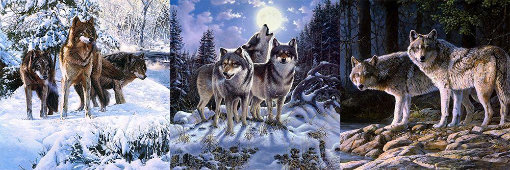 Модульная картина «Стая волков в лесу»