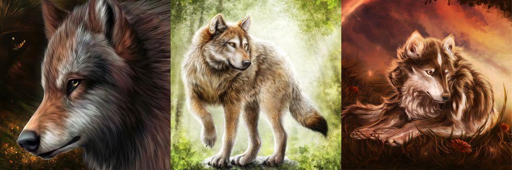 Модульная картина «Сказочные волки»