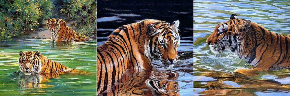 Модульная картина «Купающиеся тигры»