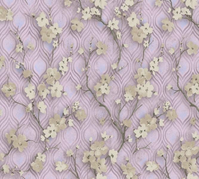 Трикотажный плед «Цветущие ветви в лиловых тонах» вид 2