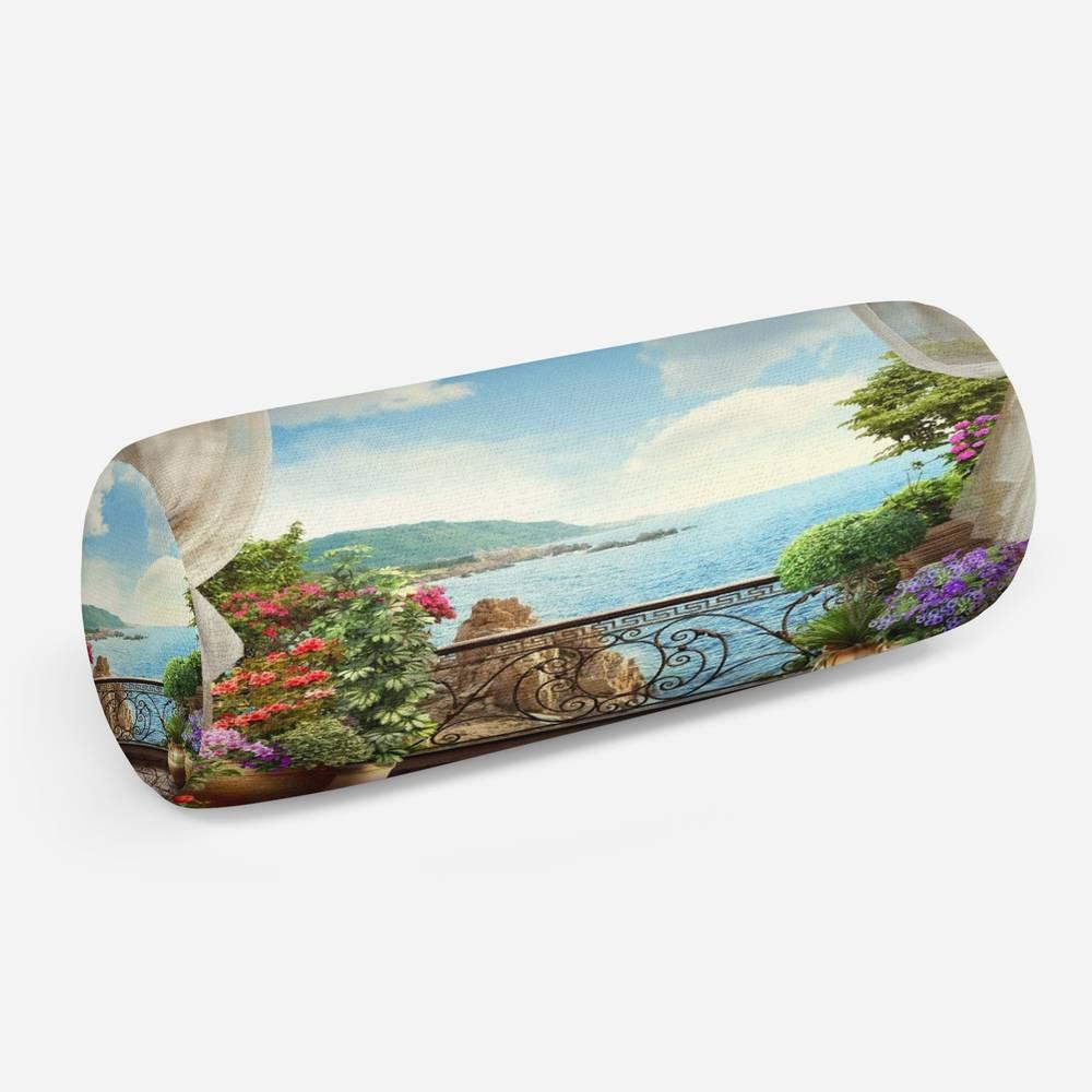 3D подушка-валик «Балкон на скалистом берегу океана»