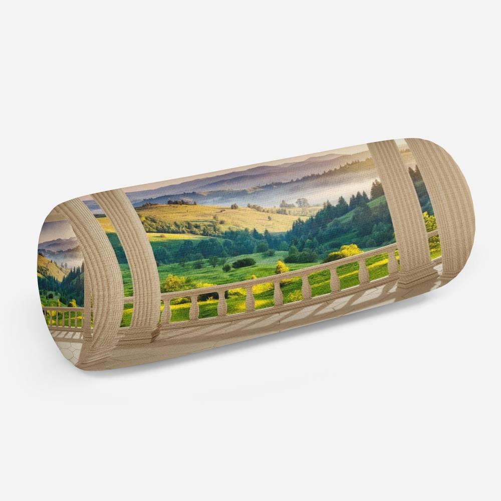 3D подушка-валик «Балкон с видом на альпийское утро»