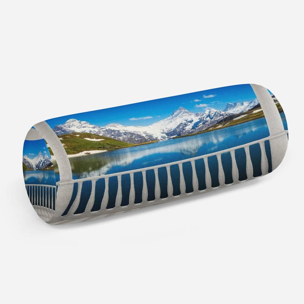 3D подушка-валик «Балкон с видом на горы»