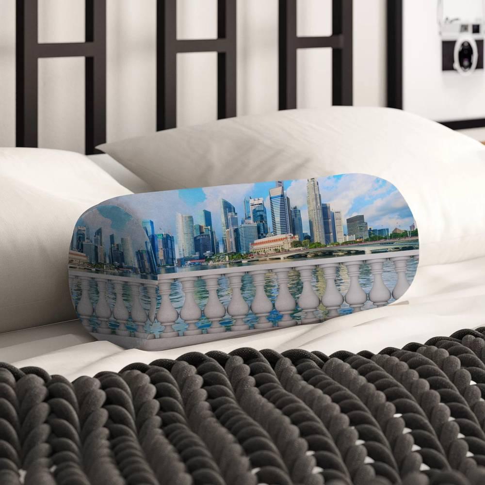 Декоративная подушка в форме валика «Набережная с видом на мегаполис» вид 2