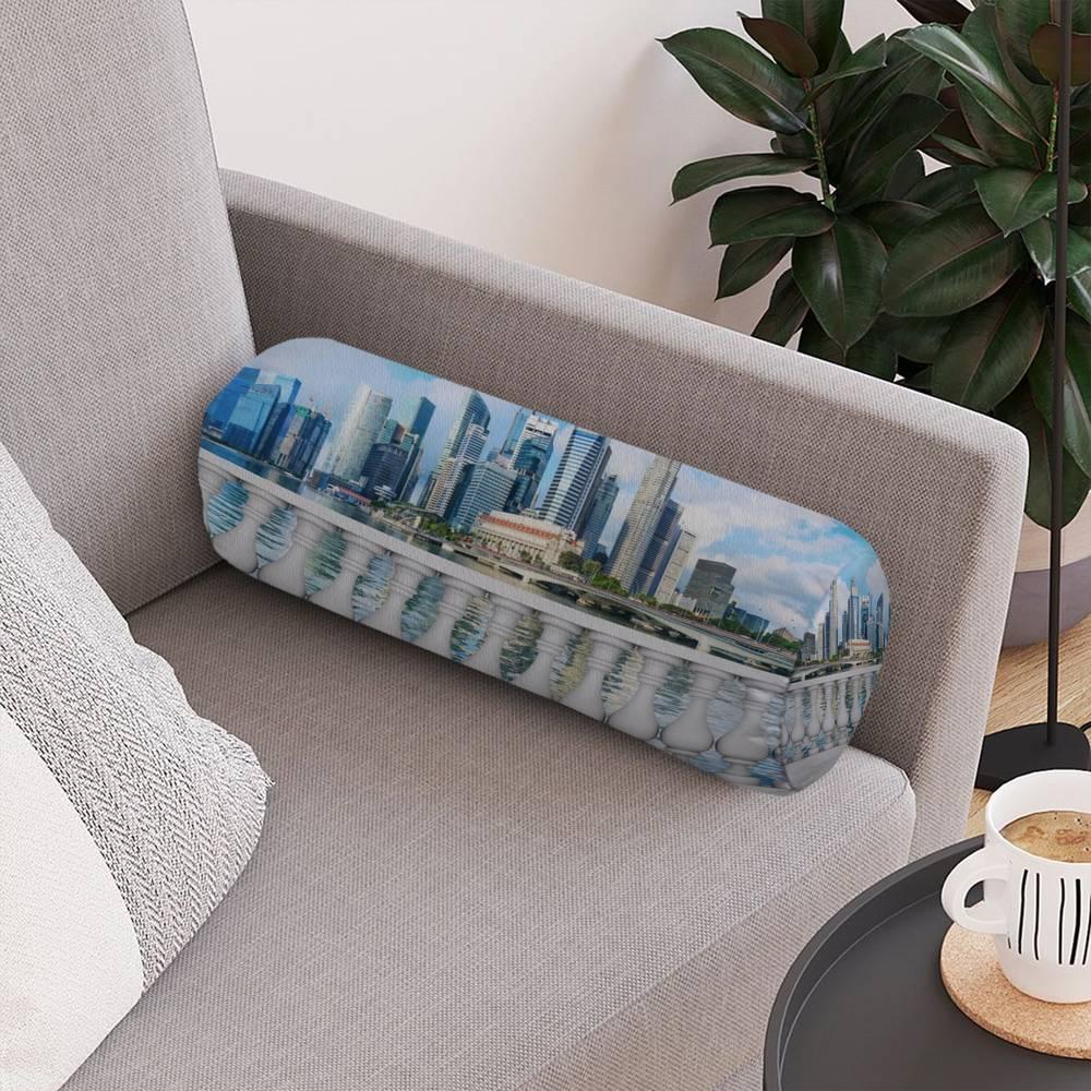 Декоративная подушка в форме валика «Набережная с видом на мегаполис» вид 4