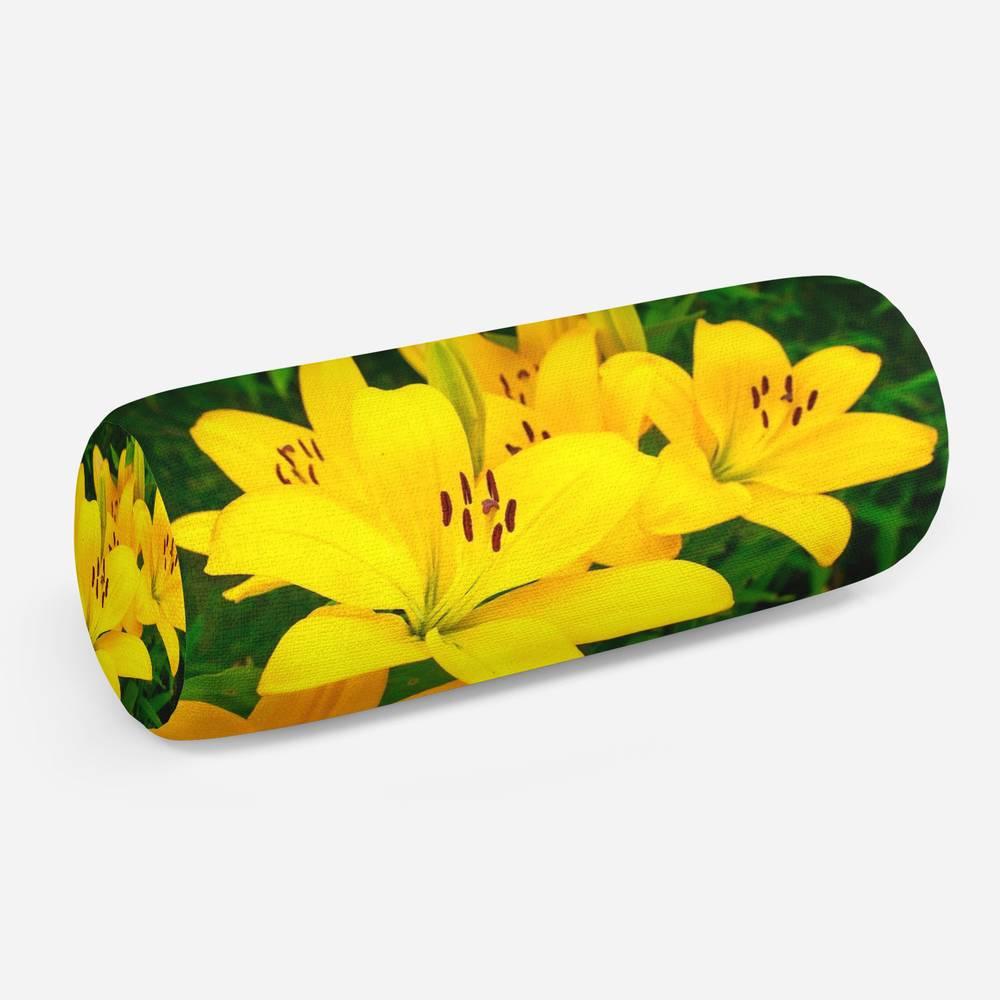 3D подушка-валик «Яркие желтые лилии »