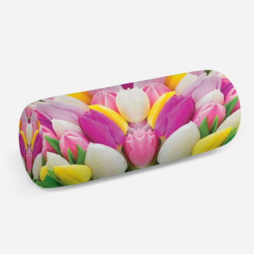 3D подушка-валик «Разнообразие тюльпанов»