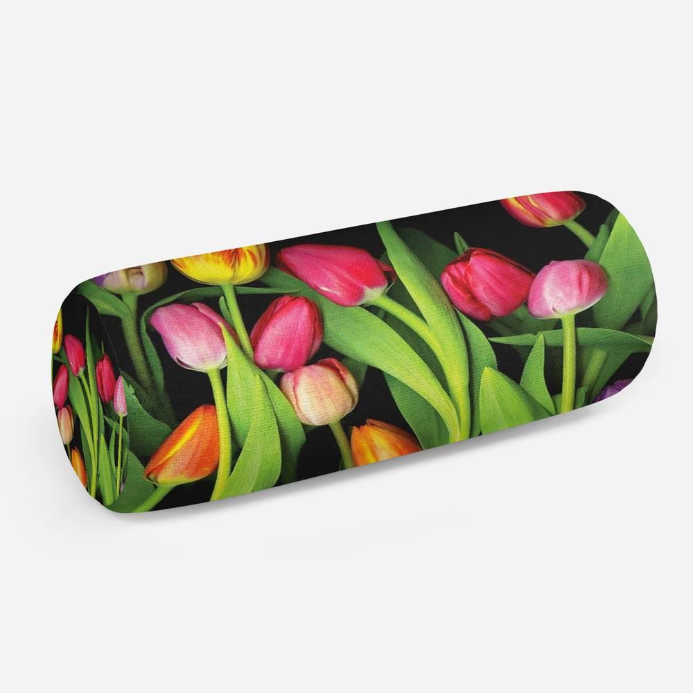3D подушка-валик «Тюльпаны на темном фоне»