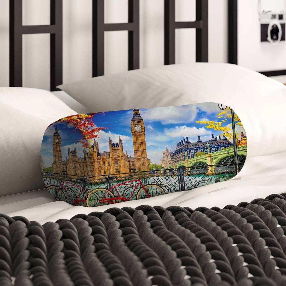 Тканевая подушка валик «Утро в Лондоне» вид 2