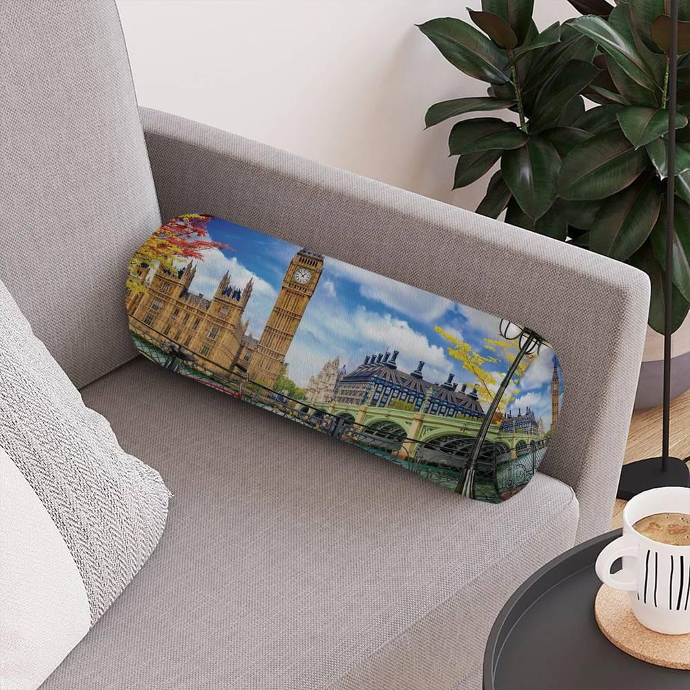 Тканевая подушка валик «Утро в Лондоне» вид 4