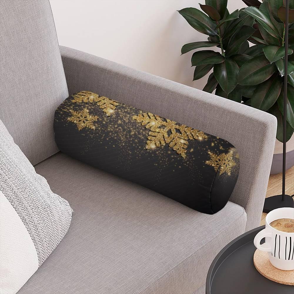 Тканевая круглая подушка «Композиция с золотыми снежинками» вид 4