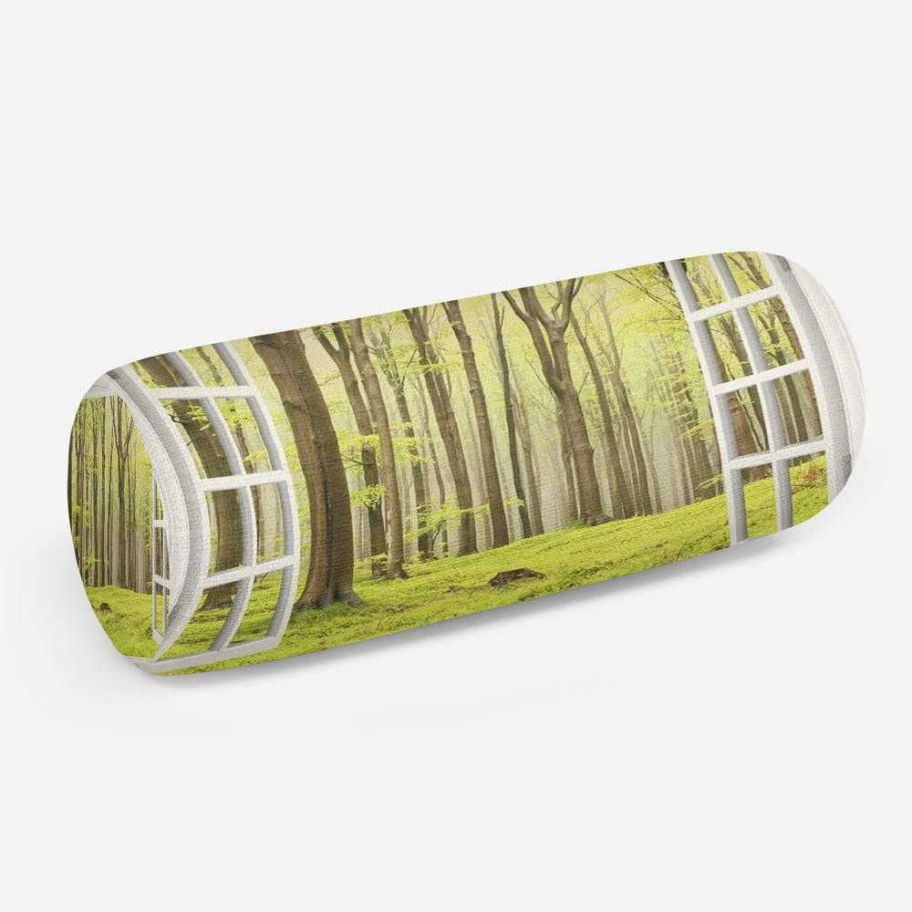 3D подушка-валик «Окно с видом на зеленый лес»