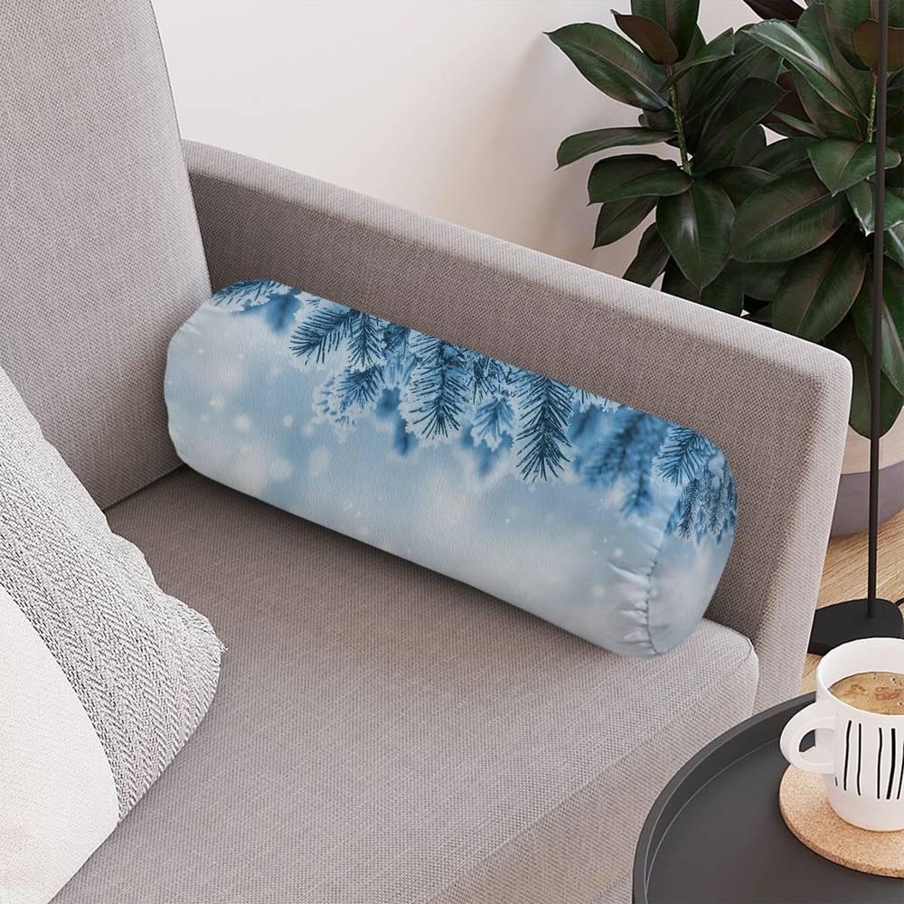 Интерьерная вытянутая подушка «Ветка ели в снегу» вид 4