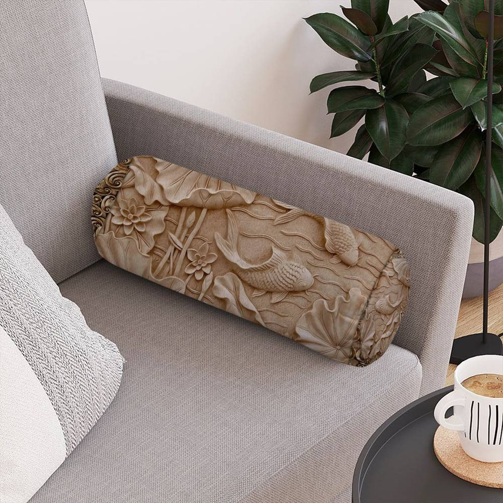 Декоративная подушка-валик «Резьба по дереву в китайском стиле» вид 4