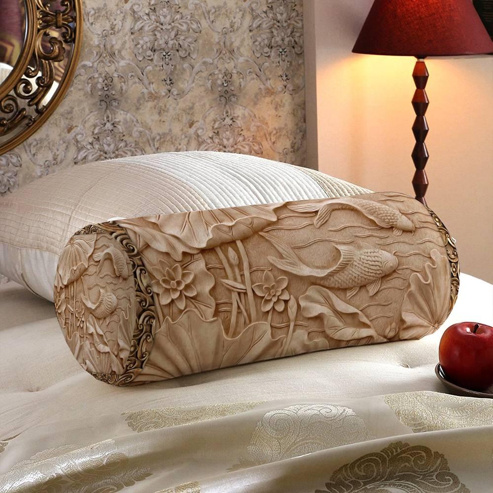 Декоративная подушка-валик «Резьба по дереву в китайском стиле» вид 5