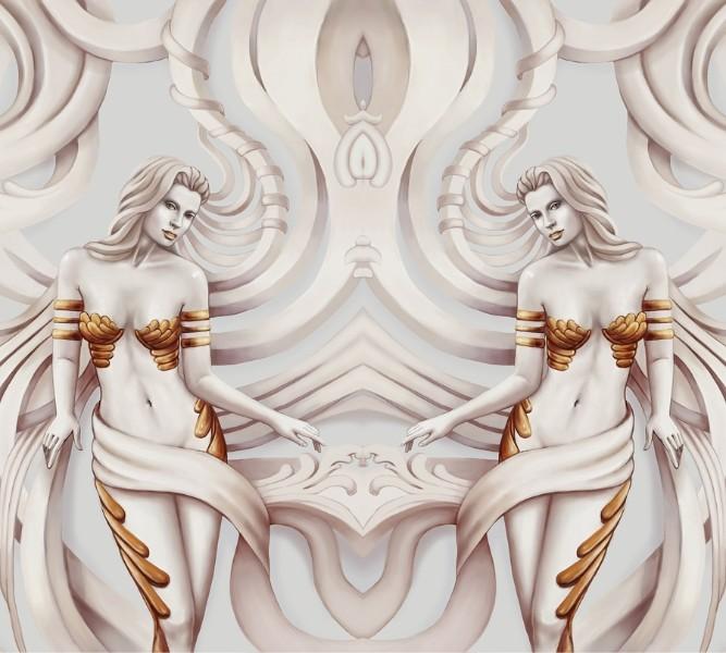 Декоративная вытянутая подушка «Барельеф с сиренами» вид 3