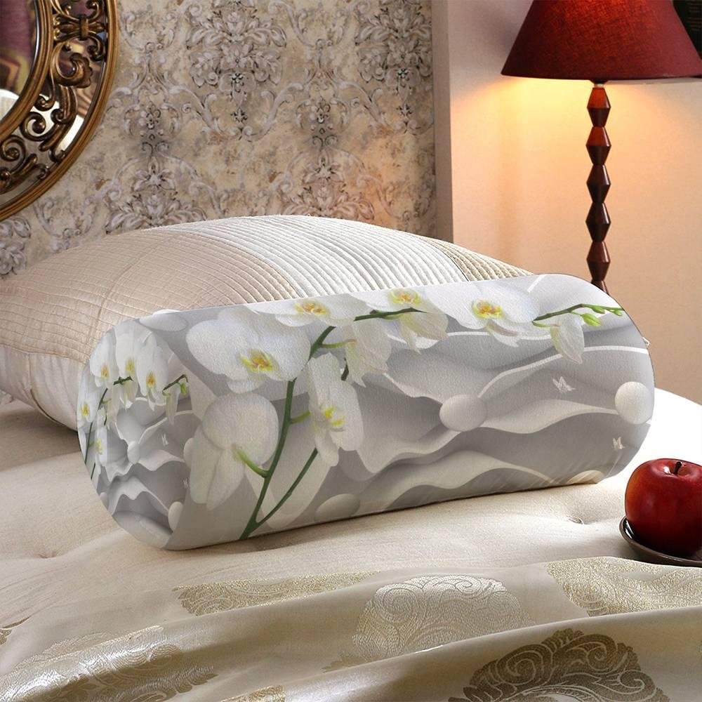Декоративная подушка «Белая орхидея на объемном фоне» вид 5