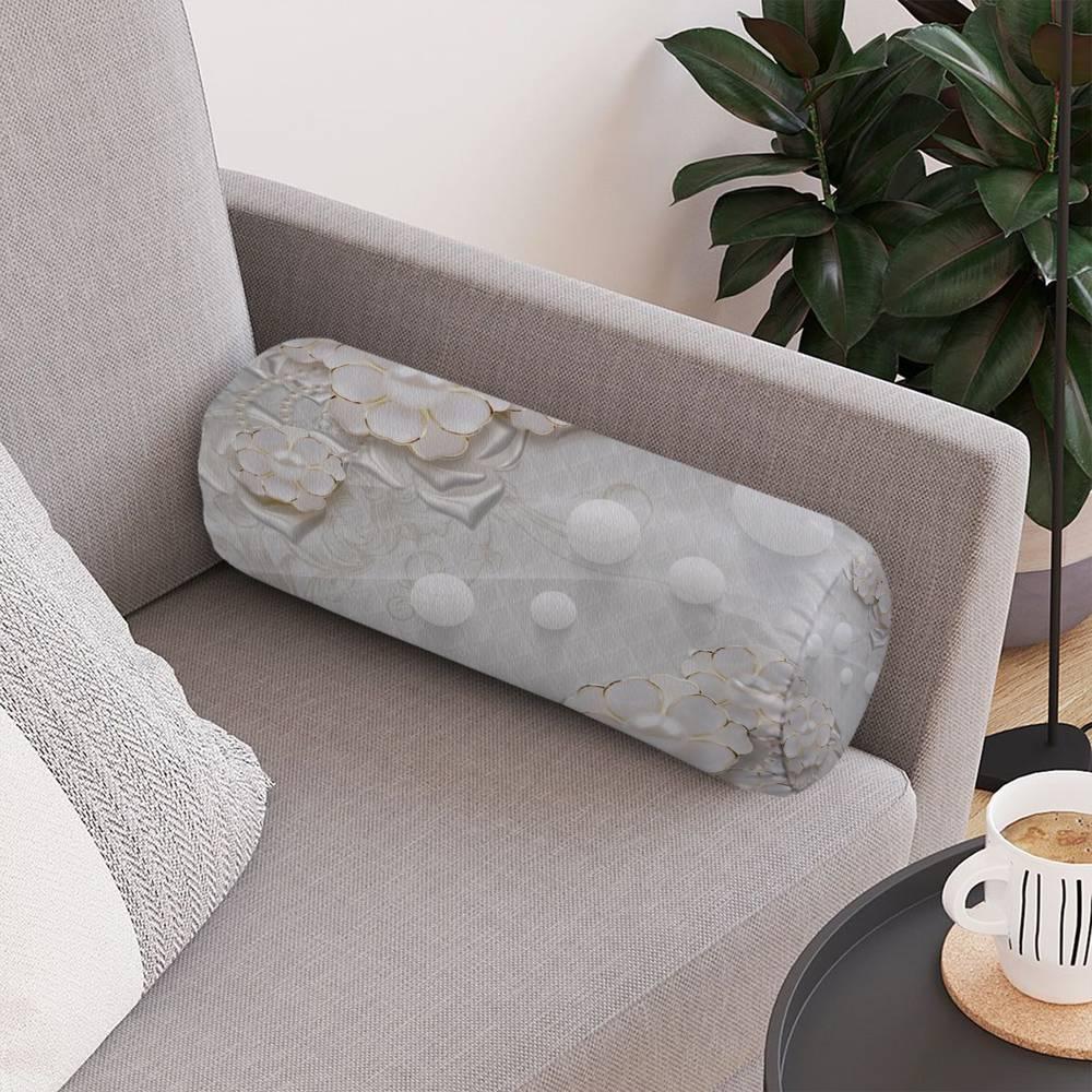 Декоративная подушка для дивана «Объемные цветы с жемчугом» вид 4