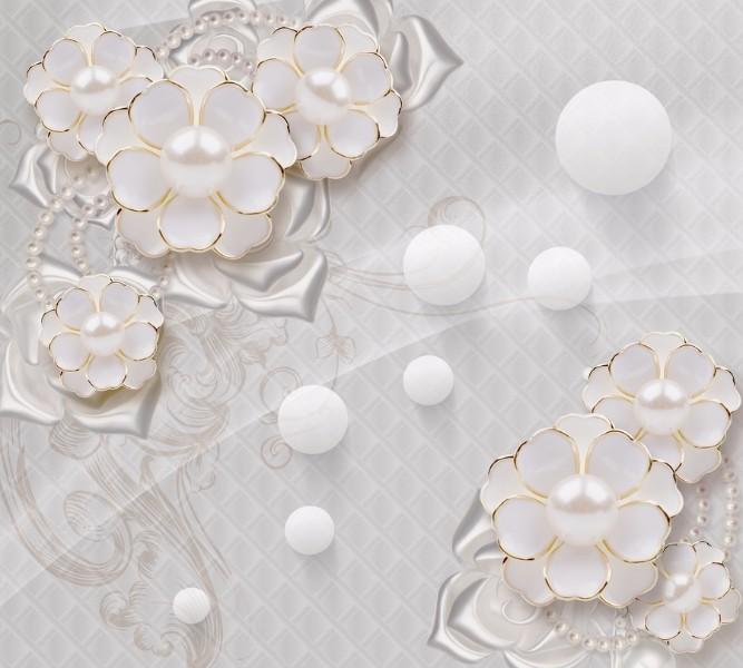 Декоративная подушка для дивана «Объемные цветы с жемчугом» вид 3