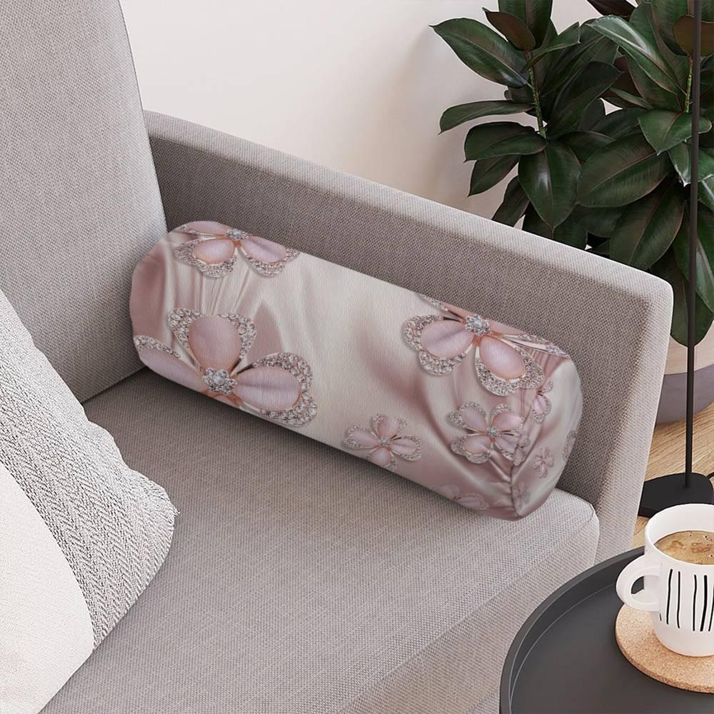 Интерьерная подушка «Клевер с бриллиантами в нежно-розовых тонах» вид 4