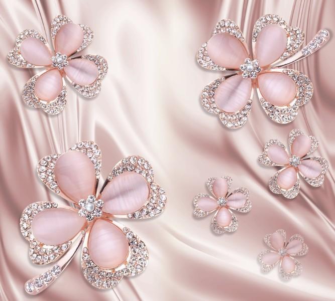 Интерьерная подушка «Клевер с бриллиантами в нежно-розовых тонах» вид 3