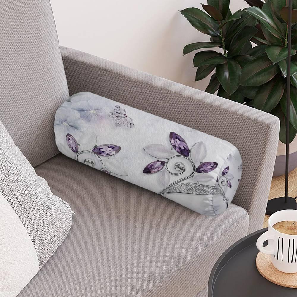 Тканевая подушка-валик «Ювелирные цветы и бабочки» вид 4