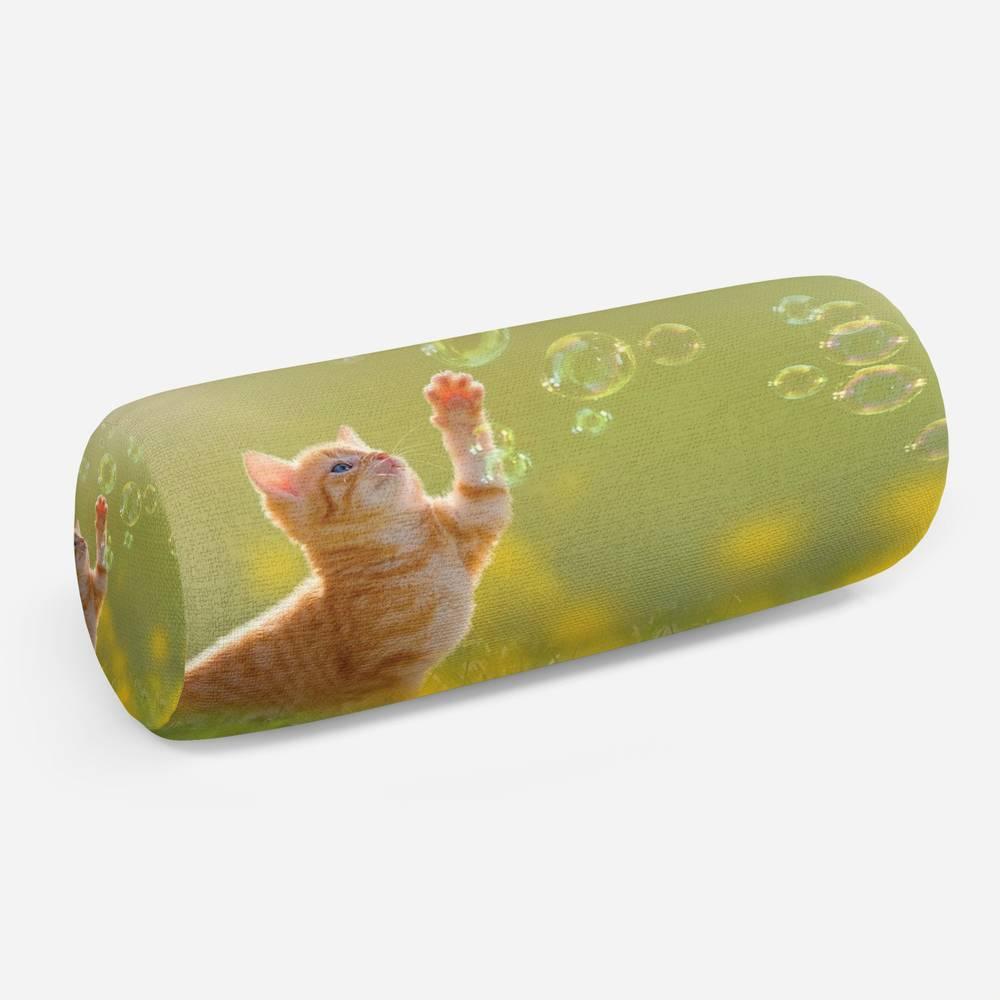 3D подушка-валик «Рыжий кот с мыльными пузырями»