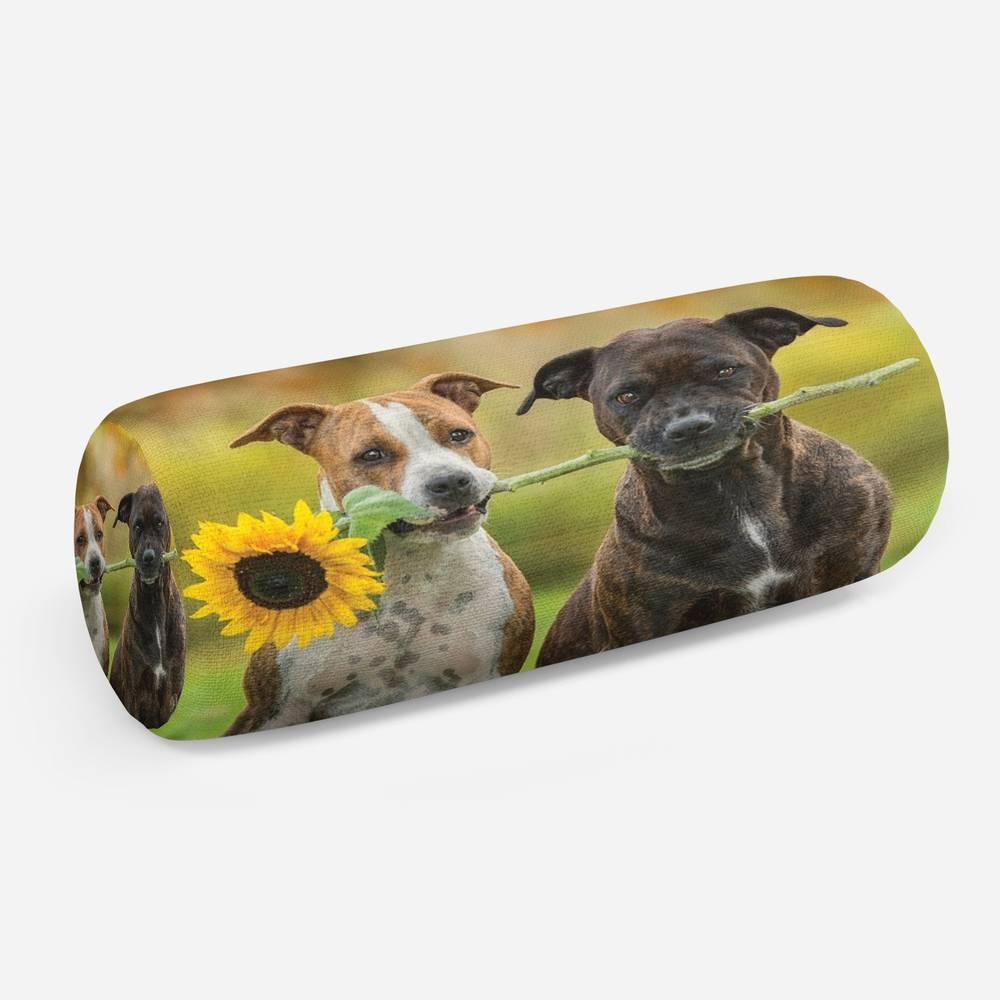 3D подушка-валик «Псы с подсолнухом»