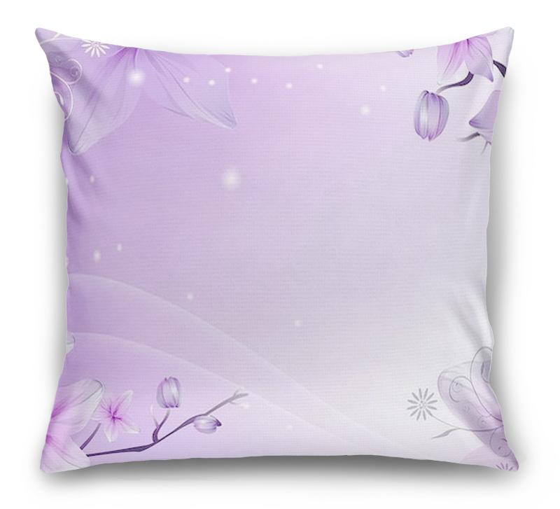 3D Подушка «Фиолетовая цветочная фантазия»  вид 1