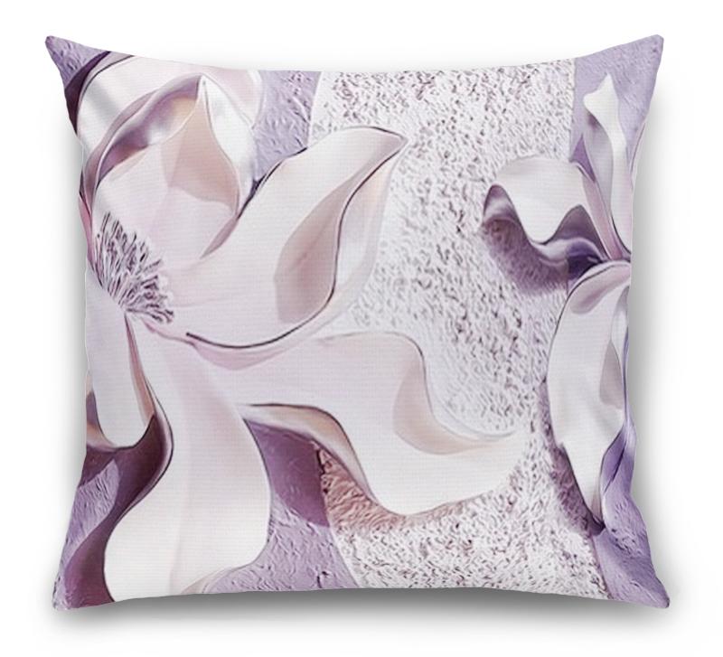 3D Подушка «Фиолетовые магнолии на рельефном фоне»  вид 1