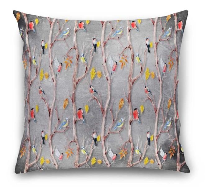 3D Подушка «Осенний этюд с птицами» вид 1