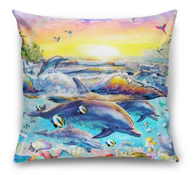 3D Подушка «Дельфины. Сказочный остров» вид 1