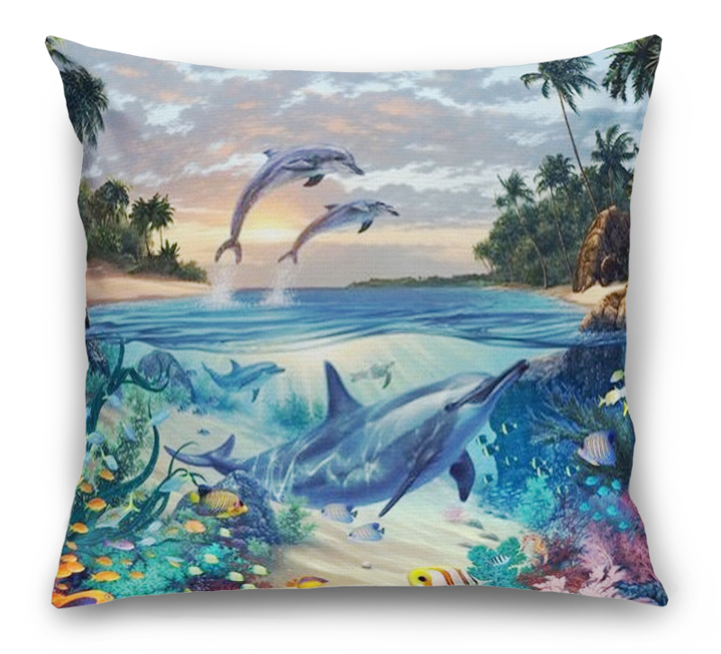 3D Подушка «Дельфины в голубой лагуне» вид 1