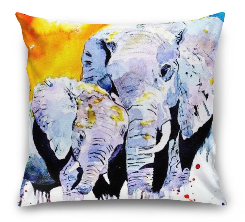 3D Подушка «Слоны. Акварель» вид 1