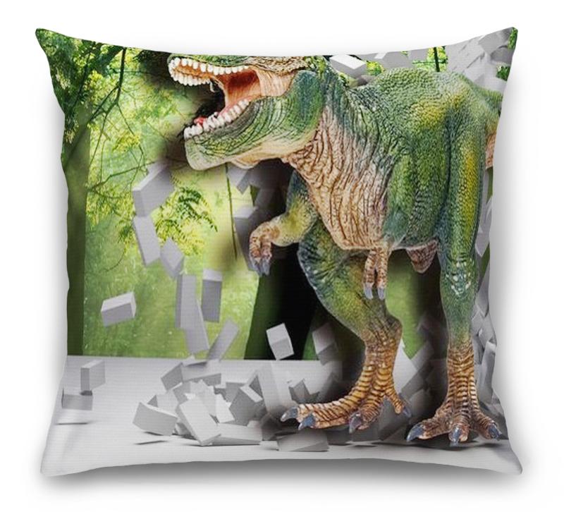 3D Подушка «Динозавр ломает преграды» вид 1