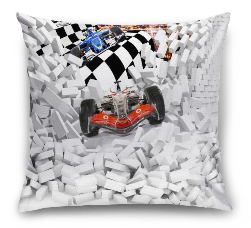 3D Подушка «Формула-1 сквозь стену» вид 1
