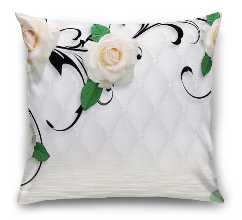 3D Подушка «Белые розы над водой» вид 1