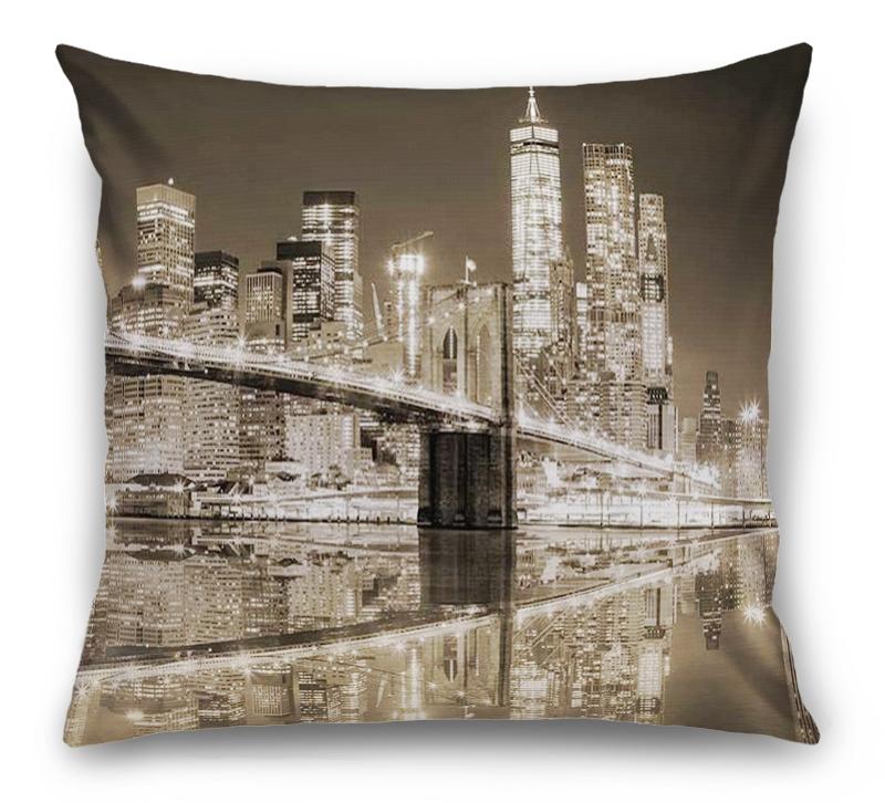 3D Подушка «Бруклинский мост сепия» вид 6