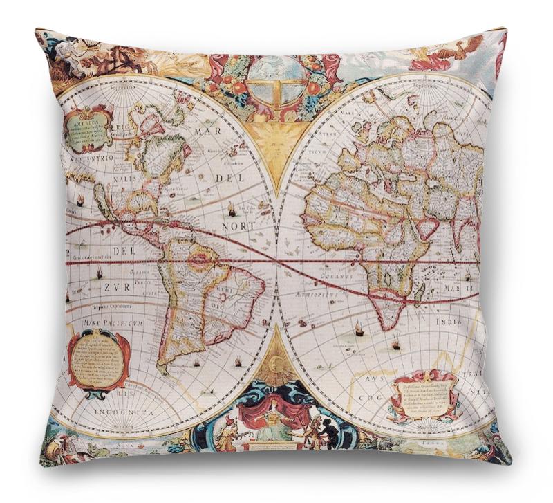 3D Подушка «Карта мира панно»  вид 1