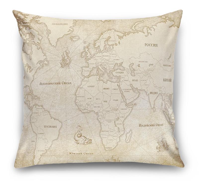 3D Подушка «Карта мира в винтажном стиле» вид 1