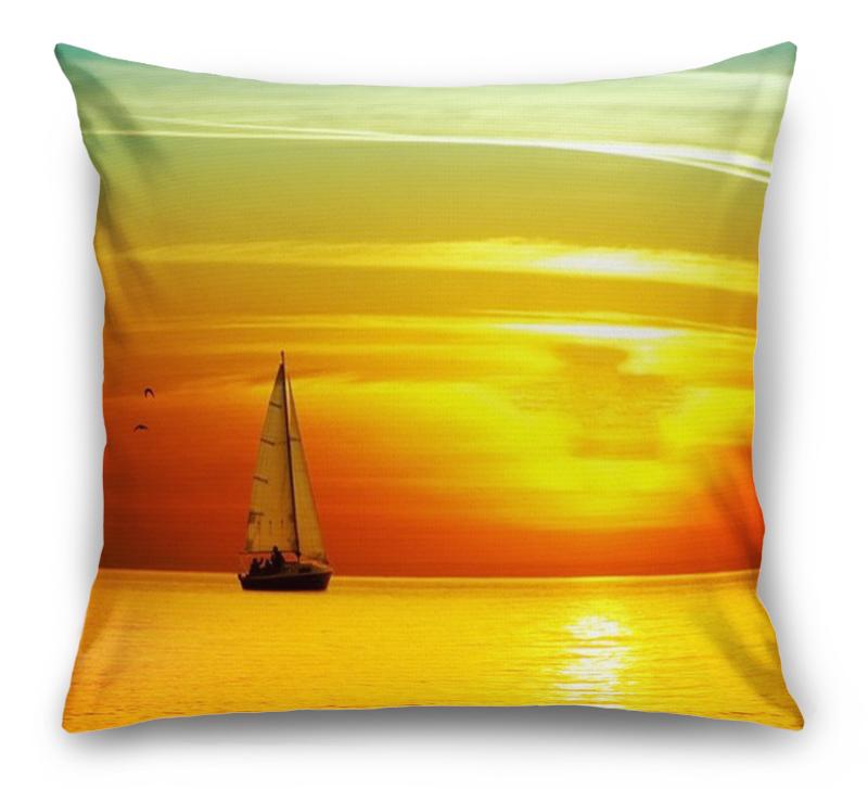 3D Подушка «Парусник на закате солнца»  вид 1