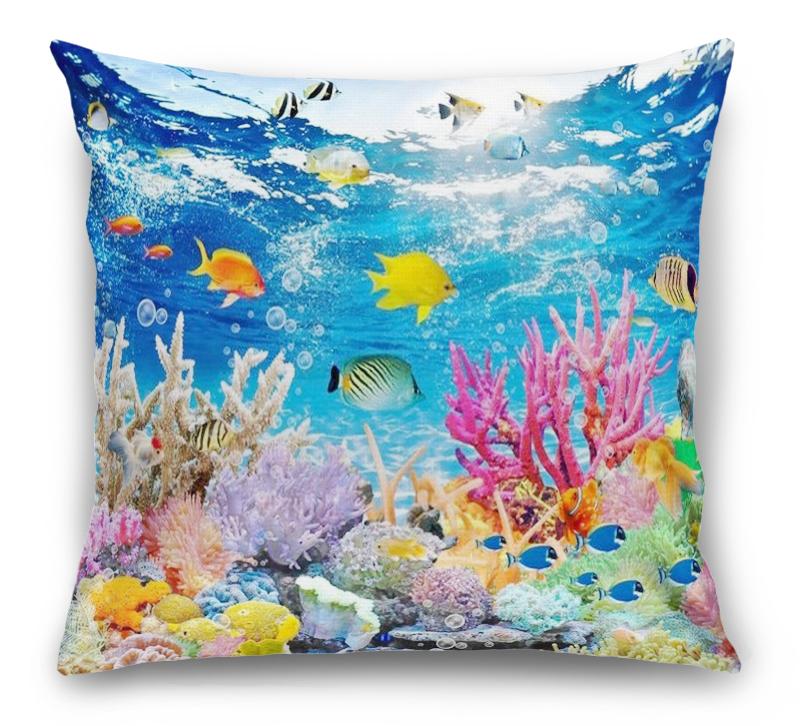 3D Подушка «Яркие краски кораллового рифа»