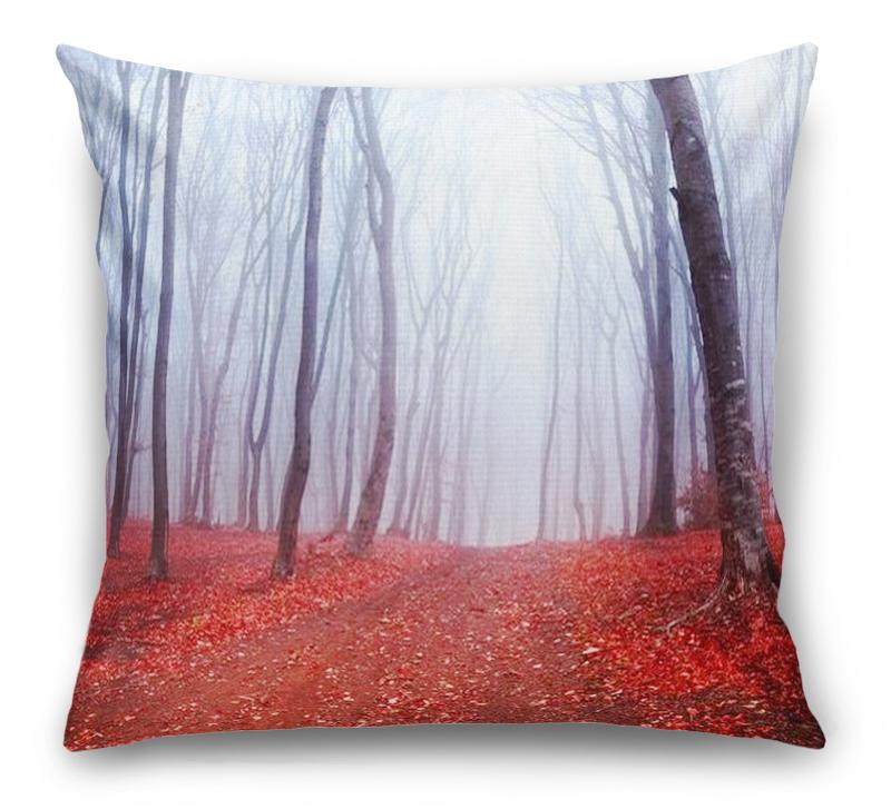 3D Подушка «Осенний лес в тумане»  вид 1