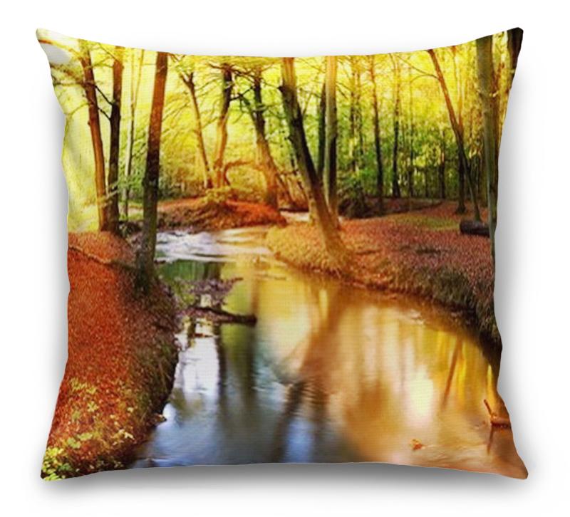 3D Подушка «Река в лесу»  вид 1